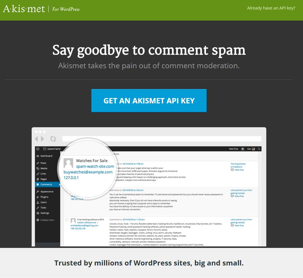 「GET AN AKISMET API KEY」をクリックします。