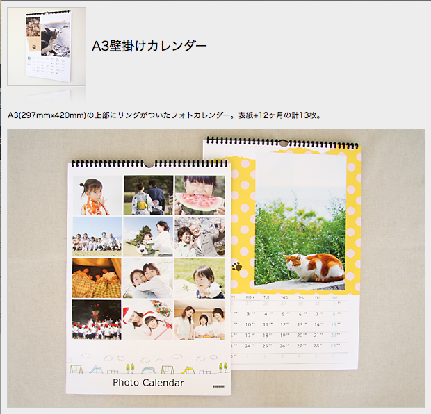A3壁掛けカレンダー