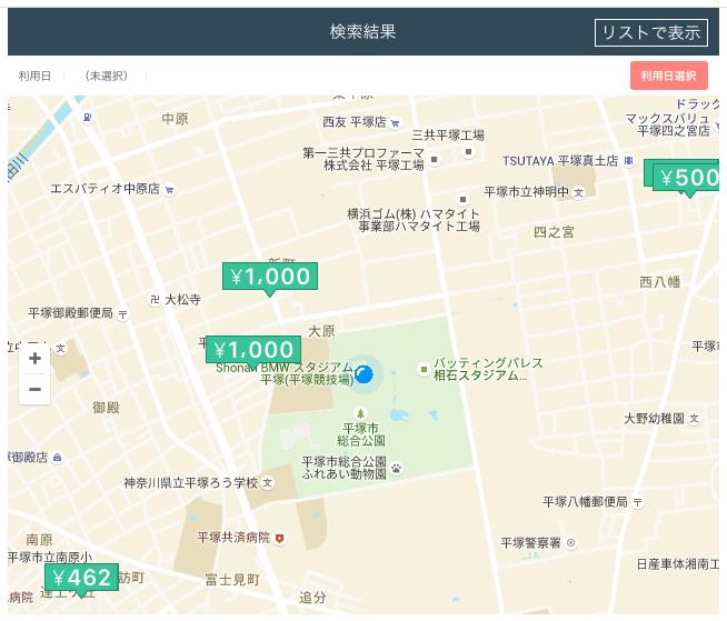 shonan BMWスタジアム平塚付近のakippa提携駐車場